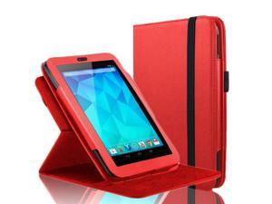 "Google Nexus 7 Case - 360 Degree Rotating Folio Leather Case Smart Cover Stand For Google Nexus 7"" Tablet with Auto Sleep & Wake Feature and Stylus Loop Red"