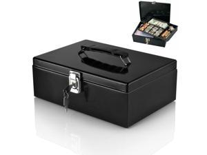 Steel Locking Cash Box with 7-Compartment Tray Cashier Drawer Money Safe Security Fits Coins, Bills, Checks Black