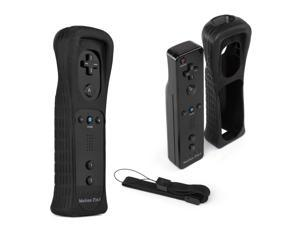 Wireless Remote Wiimote Control Controller + Silicone Case Sleeve Skin Cover + Wrist Strap for Nintendo Wii Games System Black Built Motion Plus 2in1