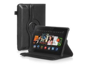 Amazon Kindle Fire HD 7 Case - 360 Degree Rotating PU Leather Case Smart Cover Stand For Amazon Kindle Fire HD  2014 Model with Wake & Sleep Feature and Stylus Holder Black