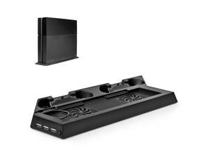 PS4 Stand + Controller Charger + Cooling Fan + USB Hub - Vertical Docking Charging Station for DualShock Controller, External Cooler Fan, 3 USB Port Hub 4-in-1 Accessories (Black) [Playstation 4]