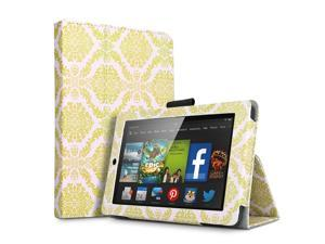 Kindle Fire HD 6 Case - Slim Fit Folio PU Leather Smart Cover Case Stand For Amazon Kindle Fire HD 6 6'' Display (2014 Edition) with Automatic Wake Sleep Feature and Stylus Holder Damask Gold
