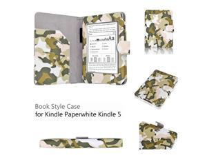 """Kindle Paperwhite 5 & 4 Case - Slim Fit Folio Leather Smart Cover Case For Amazon Kindle Paperwhite 2012 2013 Version 6"""" E-reader with Auto Sleep Wake Function and Stylus Holder Camouflage Army Green"""