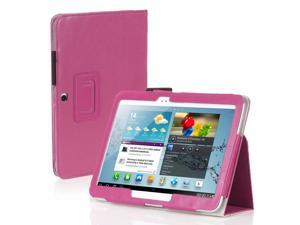 "Galaxy Tab 3 10.1 Case - Slim Fit Folio PU Leather Case Smart Cover Stand For Samsung Galaxy Tab 3 10.1"" P5200 P5210 with Auto Sleep & Wake Feature , Stylus Holder ,Hand Strap and Card Slots Pink"