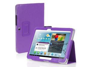 "Galaxy Tab 3 10.1 Case - Slim Fit Folio PU Leather Case Smart Cover Stand For Samsung Galaxy Tab 3 10.1"" P5200 P5210 with Auto Sleep & Wake Feature , Stylus Holder ,Hand Strap and Card Slots Purple"