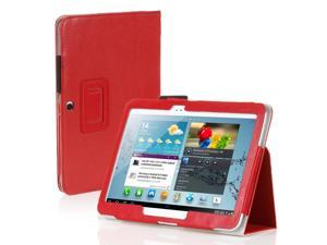 "Galaxy Tab 3 10.1 Case - Slim Fit Folio PU Leather Case Smart Cover Stand For Samsung Galaxy Tab 3 10.1"" P5200 P5210 with Auto Sleep & Wake Feature , Stylus Holder ,Hand Strap and Card Slots Red"