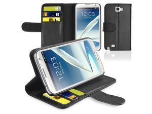 Samsung Galaxy Note 2 Case - PU Leather Flip Wallet Pouch Card Slots Stand Case Cover For Samsung Galaxy Note 2 II N7100 with ID/Credit Card Holder Black