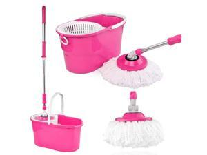 Easy Magic Floor Mop (Pink) 360° Degree Rotating Stainless Steel Set with Dry Version Bucket and 2 Replacement Microfiber Mop Heads Handle Sef Wringing Twist Spinning (No Foot Padel)