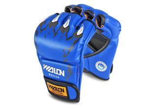Half Finger Boxing Gloves (Blue) - Grappling MMA Muay Thai UFC Sparring Punch Ultimate Mitts Sanda Fighting Training Sandbag Equipment Pair for Adult Men