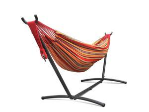 Double Hammock With Space Saving Steel Stand Elegant Tropical Stripe Includes Portable Carrying Case for Outdoor Camping Garden Park Accommodate 2 Adults Weight Capacity 450lbs