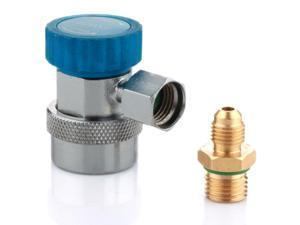 "AC R134a Quick Coupler Connector Manifold Gauge Low Side Adapter Deluxe Adjustable 1/4"" SAE HVAC Quick Connect Replacement Blue for Auto Air Conditioning"