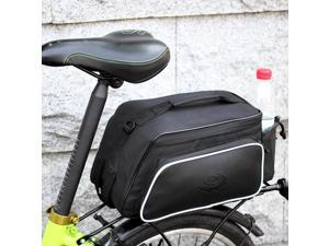 Roswheel Bicycle Rear Tail Seat Pannier Bag Bike Cycling Pouch Storage Trunk Rack Also As Shoulder Bag or Handbag Back Black with 2 Sides and 1 Bottle Pockets Reflective Stripe