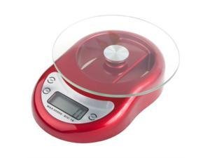 Digital Kitchen Food Scale Precision 5000g x 1g Capacity for Diet Postal Mailing Weighing Electronic with Time Clock Glass Platform Ultrabright Display in Red