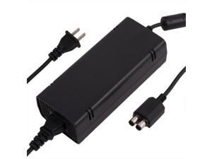 Xbox 360 Slim Power Supply Adapter Box Block with Power Cord Cable Charger Charging Replacement Accessory - 12V 135W Power Brick (Black)
