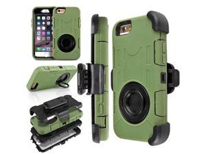 "iPhone 6s Case - Heavy Duty Rugged Hybrid Rubber Shockproof 4 Layers Combo Stand Cover Hard Case for iPhone 6 / iPhone 6S 4.7"" with Belt Clip Holster Kickstand and Built-in Screen Protector Army Green"