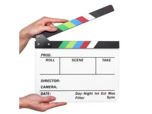 "Director Clapboard Film Movie Clapper Board Acrylic Plastic Dry Erase Stadio Camera TV Video Cut Action Scene Slate Board 10x12"" with Color Sticks"