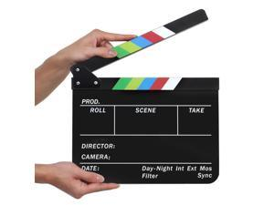 "Acrylic Plastic Clapboard Director's Clapper Board Dry Erase Cut Action Scene Slateboard For Hollywood Camera Film Studio Home Movie Video 10x12"" with Color Sticks"