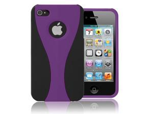 iPhone 4S/4 Case - Stylish Deluxe 3-Piece Design Cup Shape Snap-on Rubber Coated Case Cover for Apple iPhone 4S/4 Black/Purple