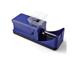 Electric Cigarette Rolling Machine Injector DIY Tobacco Automatic Roller Maker Smoking Tool 110v 5 Speed Portable in Blue with Removable Transparent Tray Power Adapter