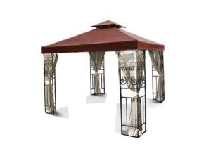 10'x10' Gazebo Replacement Canopy Top Cover (Brown) - Dual Tier with Plain Edge Polyester UV30 Waterproof for Outdoor Garden Patio Pavilion Sun Shade