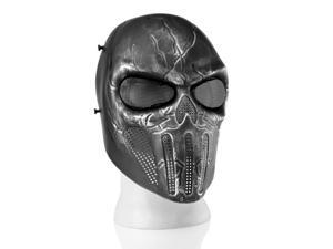 Airsoft Paintball Mask Full Face Skull Skeleton Metal Mesh Eye BB Field Protection Safety Guard Silver Gray Revenger for Outdoor Activity Hunting Wargame Cosplay