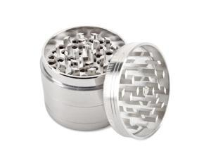 Tobacco Spice Herb Grinder Aluminum Hand 2.5-Inch 63mm Diameter 4 Pieces Muller Kitchen Crusher Tool with Mesh Screen Pollen Scraper - Silver