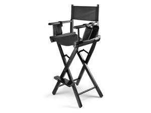 Professional Makeup Chair Artist Directors Actor Wood Stool Light Weight Bar Height Seat Foldable with Storage Side Bags and Food Rest Home Furniture in Black