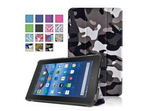New Fire 7 Case (Camouflage Black & Gray) - Ultra Slim Lightweight Folding Folio Cover Stand with Hard Rubberized Back for Amazon New Fire 7 Inch (5th Generation) 2015 Release Tablet