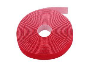 "Hook And Loop Tape Strap Cable Ties Fastener (Red) (15 Feet) - Sticky Self Adhesive Nylon Fabric Roll Wrap 0.75"" Wide 5 Yards Reusable For Cutting Custom Length Cord Wire Fastening"