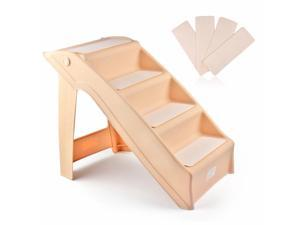 Pet Stairs Folding Dog Cat Animal Step Ramp Ladder Foldable Plastic Portable for Tall Bed Indoor Outdoor Decor Supply Easy Store in Beige