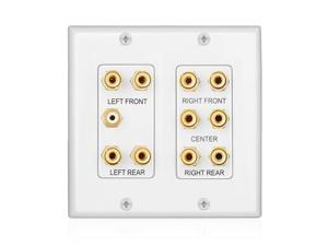 Home Theater Wall Plate - 2-Gang 5.1 Surround Sound Audio Distribution Panel Premium Gold Plated Copper Banana Binding Post Coupler Plug for 5 Speaker, 1 RCA Jack for Subwoofer (White)