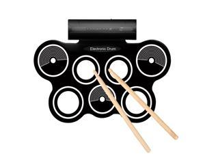 Portable Roll Up Drum Pad Set Kit with Built-in Speaker - Digital Electronic Foldable Flexible Silicone Sheet 7 Pads with Drum Stick and Foot Switch Pedal Supports USB MIDI output