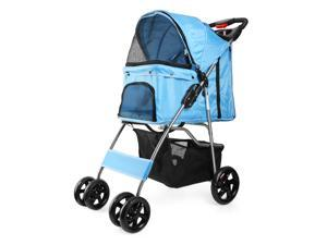 4 Wheels Pet Dog Stroller Cat Small Animals Carrier Large Deluxe Folding Flexible Easy Walk Jogger Jogging for Travel Up to 30 Pounds With Rain Cover Blue