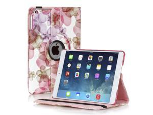 iPad Mini 4 Rotating Case (Flower Pink) 360 Degree Stand Smart Cover Flip Protective PU Leather For Apple iPad Mini 4 2015 Release,  Multi Viewing Angles, Auto Sleep & Wake Feature & Stylus Holder