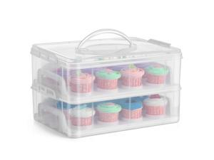 Cupcake Carrier Holder Container Box (24 Slot, 2 Tier) - 24 Cupcakes Slot or 2 Large Cakes Pastry Clear Plastic Storage Basket Taker Courier with 2 Tier Stackable Layer Insert (Clear)