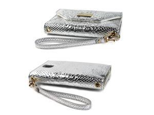 JAVOedge Croc Clutch Wallet Case with Wristlet for the Samsung Galaxy Note 3 (Silver)
