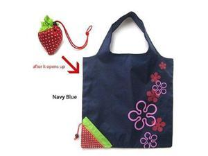 JAVOedge Cute Blue Fold Up Reusable Tote Bag, Folds up in to a Strawberry for Groceries, Shopping, Etc.
