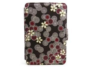 """JAVOedge Brown Cherry Blossom Print Fabric Axis 360 Rotating Smart Cover Case with Stand for the Amazon Kindle Fire 7"""""""