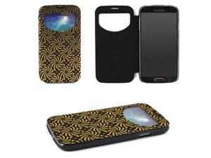 JAVOedge Foil Flip Case with Window for the Samsung Galaxy S4 (Black)