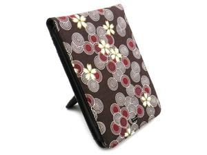 JAVOedge Brown Cherry Blossom Fabric Flip Style Case with Built In Stand for Amazon Kindle Touch