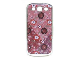 JAVOedge Pink Floral Print and Crystal Snap On Protective Back Cover for the Samsung Galaxy S3