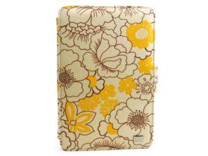 """JAVOedge Yellow Poppy Print Fabric Axis 360 Rotating Smart Cover Case with Stand for the Amazon Kindle Fire 7"""""""