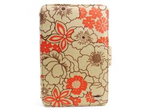 JAVOedge Red Tangerine Poppy Print Fabric Axis 360 Rotating Smart Cover Case with Stand for the Amazon Kindle Fire 7""