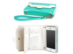 JAVOedge Turquoise Quilt Pattern 9 Card / ID Wallet Case with Removable Wristlet for the Apple iPhone 5s, iPhone 5