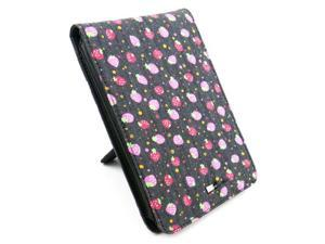 JAVOedge Pink / Blue Strawberry Jean Fabric Print Flip Style Case with Built in Stand for Amazon Kindle Touch Wi-Fi/3G