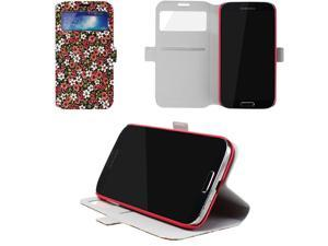JAVOedge Tiny Flower Book Case for the Samsung Galaxy S4 (Red)