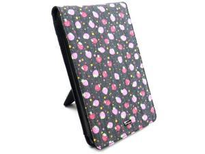 "JAVOedge Pink / Blue Strawberry Jean Print Fabric Flip Case, Built in Stand for Amazon Kindle Fire 7"" - First Generation"