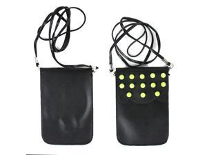JAVOedge Black Over the Shoulder Studded Phone Pouch / Purse