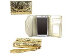 JAVOedge Gold Crocodile Pattern Clutch Wallet Case with Wristlet for the Samsung Galaxy Note 2