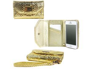 JAVOedge Gold Croc Slim Wallet Case / Card Holder, Screen Protector, Wristlet for the Apple iPhone 5S / iPhone 5